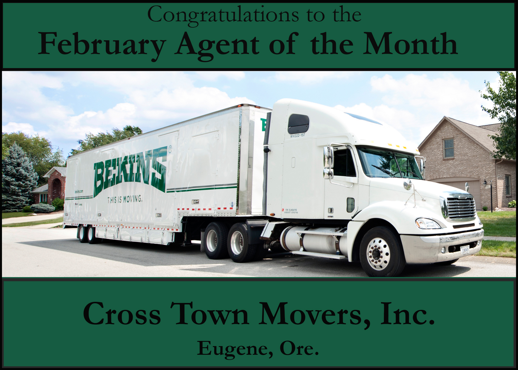 Cross Town Movers Agent of the Month